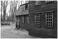 Hartwell Tavern in winter, Minute Man National Historical Park. Massachussets, USA ( black and white)