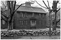 Hartwell Tavern, Lincoln, Minute Man National Historical Park. Massachussets, USA (black and white)