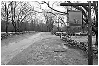 Battle Road Trail and tavern sign, Minute Man National Historical Park. Massachussets, USA ( black and white)