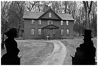 Louisa May Alcott Orchard House, Concord. Massachussets, USA ( black and white)
