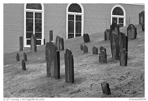 Cemetery and church, Concord. Massachussets, USA (black and white)