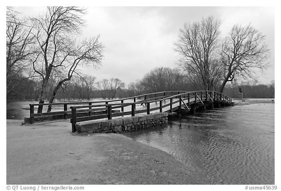 North Bridge over Concord River, Minute Man National Historical Park. Massachussets, USA (black and white)