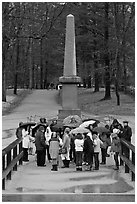 School children visiting North bridge, Minute Man National Historical Park. Massachussets, USA (black and white)
