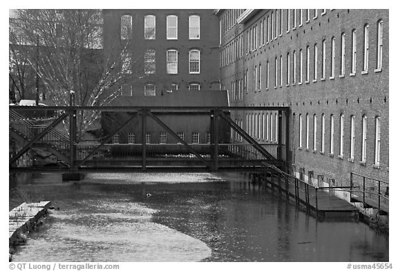 Eastern Canal and Boots Mills, Lowell National Historical Park. Massachussets, USA (black and white)