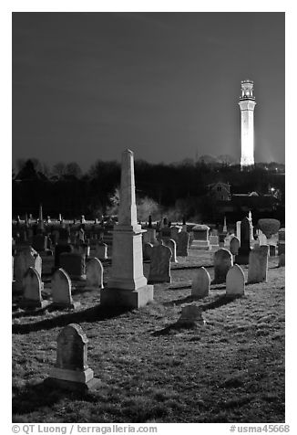 Cemetery and Pilgrim Monument by night, Provincetown. Cape Cod, Massachussets, USA (black and white)