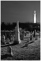 Cemetery and Pilgrim Monument by night, Provincetown. Cape Cod, Massachussets, USA ( black and white)