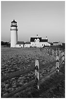 Cape Cod Light and fence, Cape Cod National Seashore. Cape Cod, Massachussets, USA ( black and white)