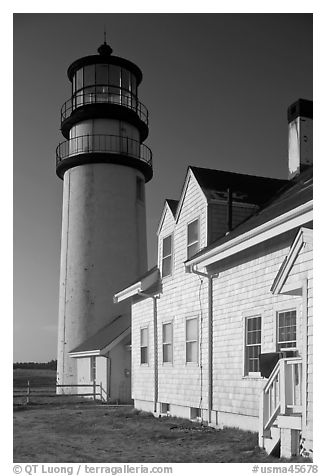 Highland Light, early morning, Cape Cod National Seashore. Cape Cod, Massachussets, USA (black and white)