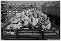 Lobstering gear, Truro. Cape Cod, Massachussets, USA ( black and white)