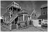 Beach and houses, Provincetown. Cape Cod, Massachussets, USA ( black and white)