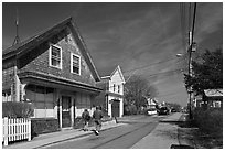 Residential Street, Provincetown. Cape Cod, Massachussets, USA ( black and white)