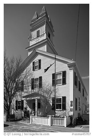 Former schoolhouse, Provincetown. Cape Cod, Massachussets, USA (black and white)
