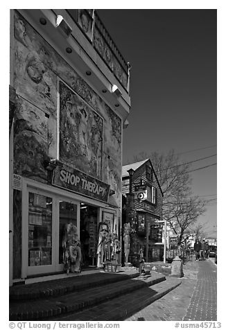 Storefront with quirky facade, Provincetown. Cape Cod, Massachussets, USA (black and white)
