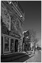 Storefront with quirky facade, Provincetown. Cape Cod, Massachussets, USA ( black and white)
