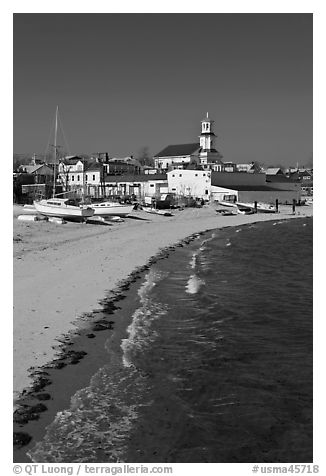 Beach, boats, and church building, Provincetown. Cape Cod, Massachussets, USA (black and white)