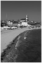 Beach, boats, and church building, Provincetown. Cape Cod, Massachussets, USA ( black and white)