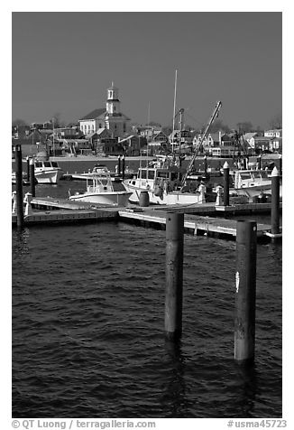 Harbor and church building, Provincetown. Cape Cod, Massachussets, USA (black and white)