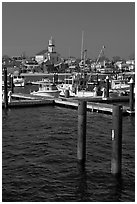 Harbor and church building, Provincetown. Cape Cod, Massachussets, USA ( black and white)
