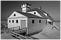 Historic life-saving station, Race Point Beach, Cape Cod National Seashore. Cape Cod, Massachussets, USA ( black and white)