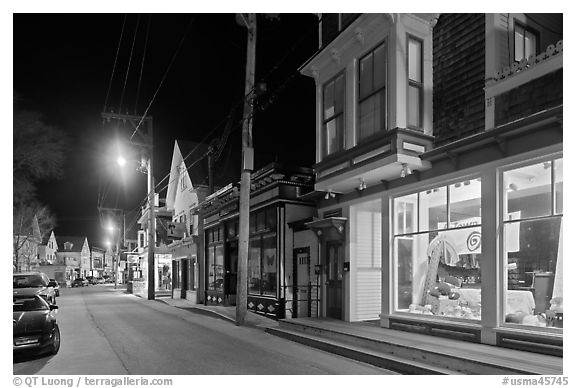 Commercial street by night, Provincetown. Cape Cod, Massachussets, USA (black and white)