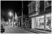 Commercial street by night, Provincetown. Cape Cod, Massachussets, USA ( black and white)