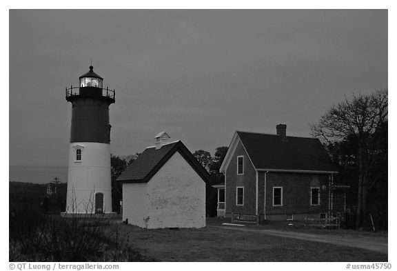 Nauset lighthouse at dawn, Cape Cod National Seashore. Cape Cod, Massachussets, USA (black and white)