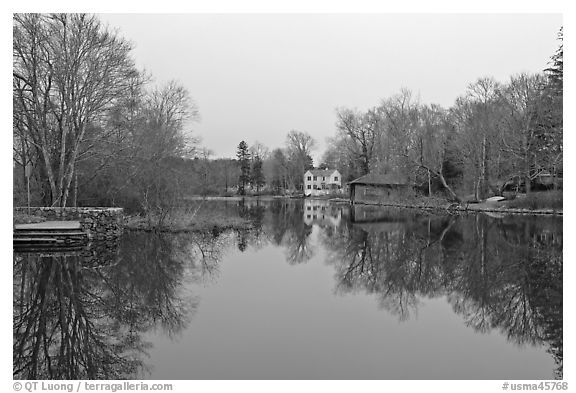 Shawme Millpond, Sandwich. Cape Cod, Massachussets, USA (black and white)
