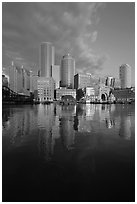 Boston financial district skyline. Boston, Massachussets, USA ( black and white)