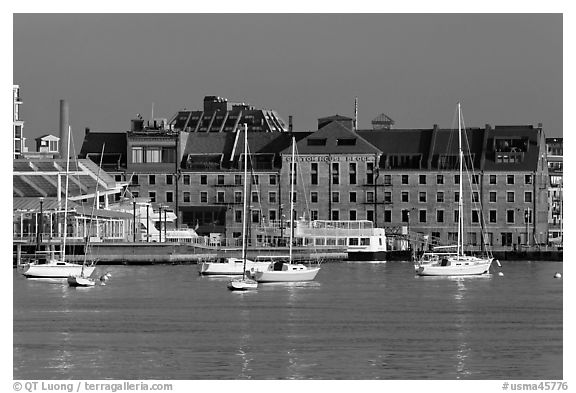 Anchored boats and custom houses. Boston, Massachussets, USA (black and white)