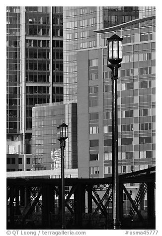 Lamps and high-rise facades. Boston, Massachussets, USA (black and white)