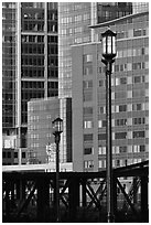 Lamps and high-rise facades. Boston, Massachussets, USA ( black and white)