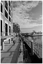 Ferry harbor waterfront. Boston, Massachussets, USA ( black and white)