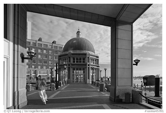 Ferry terminal, Rowes Wharf. Boston, Massachussets, USA (black and white)