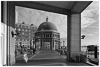 Ferry terminal, Rowes Wharf. Boston, Massachussets, USA ( black and white)
