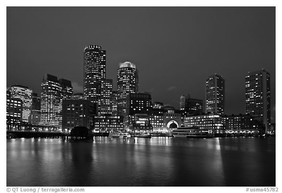 Boston skyline at dusk. Boston, Massachussets, USA (black and white)
