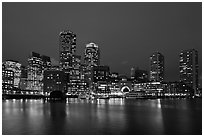 Boston skyline at dusk. Boston, Massachussets, USA ( black and white)