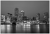 Financial district night skyline. Boston, Massachussets, USA ( black and white)