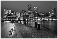 Wharf and skyline by night. Boston, Massachussets, USA ( black and white)
