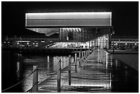 Museum of Contemporary Art (MOCA) at night. Boston, Massachussets, USA (black and white)