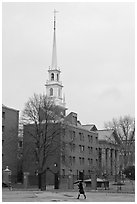 Spire on rainy day, Harvard University Campus, Cambridge. Boston, Massachussets, USA (black and white)
