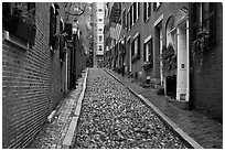 Cobblestone alley on rainy day, Beacon Hill. Boston, Massachussets, USA (black and white)