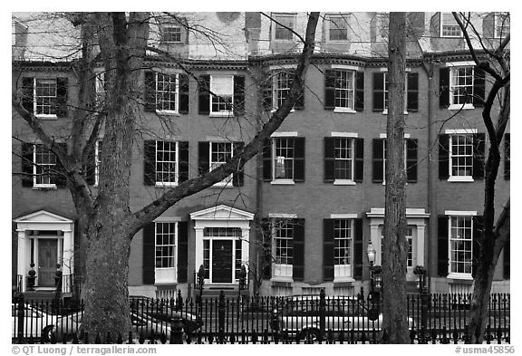 Louisburg Square, Beacon Hill. Boston, Massachussets, USA (black and white)