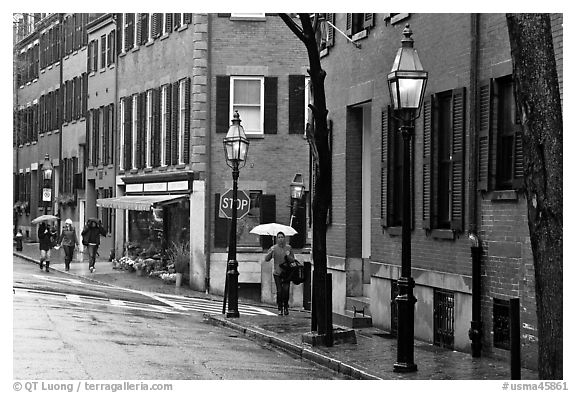 Beacon Hill street in the rain. Boston, Massachussets, USA (black and white)