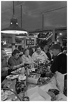 Patrons eating at Union Lobster House. Boston, Massachussets, USA ( black and white)