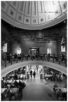 Inside historic Quincy Market. Boston, Massachussets, USA (black and white)