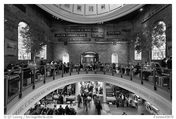 Quincy Market dome,  Faneuil Hall Marketplace. Boston, Massachussets, USA (black and white)