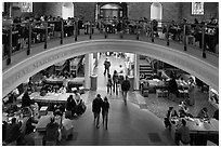 People dining, Quincy Market. Boston, Massachussets, USA ( black and white)