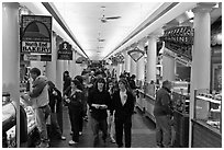 Food hall, Quincy Market Colonnade. Boston, Massachussets, USA ( black and white)