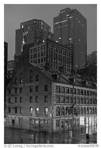 South Market and high rise buildings at dusk. Boston, Massachussets, USA (black and white)