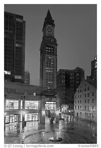 Custom House Tower and  Faneuil Hall marketplace at night. Boston, Massachussets, USA (black and white)